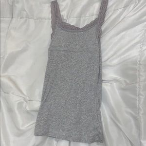 grey lace top tank top